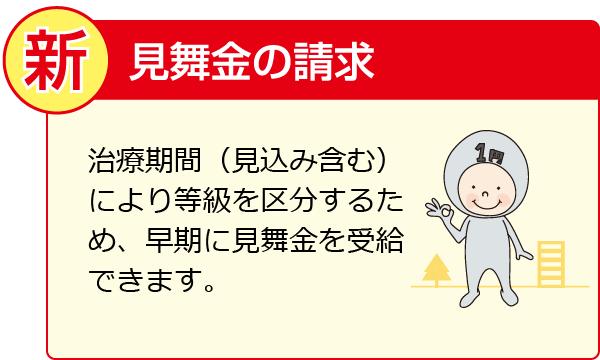 治療期間(見込み含む)により等級を区分するため、早期に見舞金を受給できます。